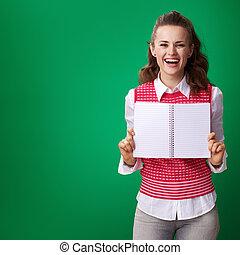 kobieta, tło, pokaz, notatnik, zielony, student, czysta kartka