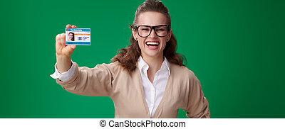 kobieta, tło, pokaz, odizolowany, zielony, student, karta