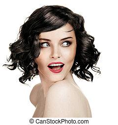 kobieta, tło, portret, uśmiechanie się, piękny, biały