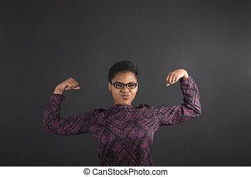 kobieta, tablica, herb, tło, afrykanin, silny