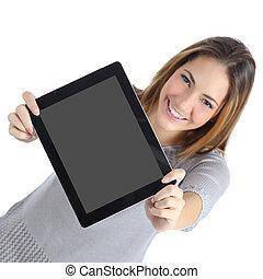 kobieta, tabliczka, cyfrowy, prospekt, pokaz, ekran, górny, czysty