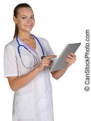 kobieta, tabliczka, doktor, pokaz, dzierżawa, palec wskazujący, ekran