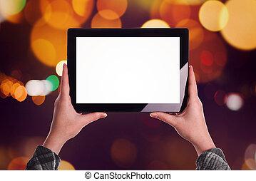 kobieta, tabliczka, ekran, czysty, komputer, cyfrowy