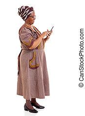 kobieta, tabliczka, komputer, afrykanin, używając, widok budynku