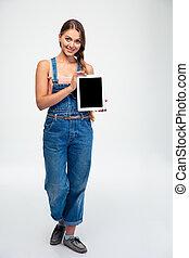 kobieta, tabliczka, komputer, pokaz, ekran, czysty