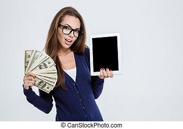 kobieta, tabliczka, pieniądze, pokaz, komputer, dzierżawa, ekran