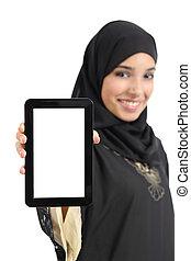 kobieta, tabliczka, pionowy, arab, odizolowany, pokaz, ekran, czysty, piękny