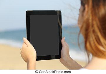 kobieta, tabliczka, plaża, do góry szczelnie, pokaz, ekran, czysty