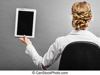 kobieta, tabliczka, pokaz, czarnoskóry, okienko osłaniają