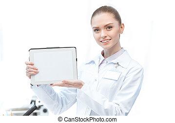 kobieta, tabliczka, pokaz, czysty, naukowiec, cyfrowy, ekran