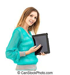 kobieta, tabliczka, pokaz, ekran