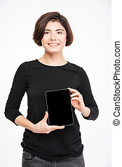 kobieta, tabliczka, pokaz, komputer, okienko osłaniają, szczęśliwy