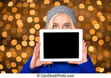 kobieta, tabliczka, pokaz, komputer, okienko osłaniają