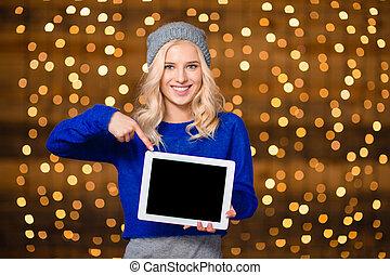 kobieta, tabliczka, pokaz, komputer, palec, czysty, uśmiechanie się, ekran