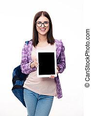kobieta, tabliczka, pokaz, komputer, uśmiechanie się, ekran