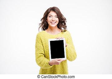 kobieta, tabliczka, pokaz, komputer, uśmiechanie się, przypadkowy