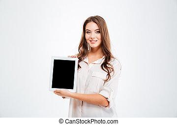 kobieta, tabliczka, pokaz, młody, komputer, okienko osłaniają, szczęśliwy