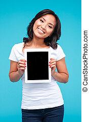 kobieta, tabliczka, pokaz, przypadkowy, komputer, asian, czysty, uśmiechanie się, ekran