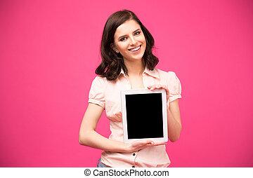 kobieta, tabliczka, pokaz, yougn, ekran komputerowy, szczęśliwy
