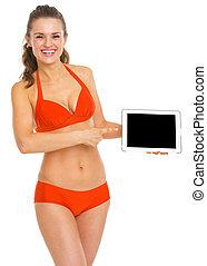 kobieta, tabliczka, spoinowanie, ekran, młody, kostium kąpielowy, pc, czysty, szczęśliwy