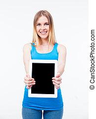 kobieta, tabliczka, szczęśliwy, komputer, pokaz, ekran