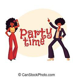 kobieta taniec, afro, dyskoteka, włosy, 1970s, człowiek, odzież