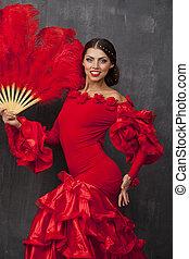 kobieta taniec, tradycyjny, tancerz, hiszpański, flamenco, strój, czerwony
