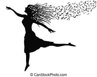 kobieta taniec, z, muzyka notują