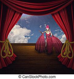 kobieta, teatr, rusztowanie