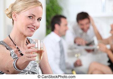 kobieta, toasting