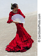 kobieta, tradycyjny, tancerz, miłośnik, hiszpański, flamenco, strój, czerwony