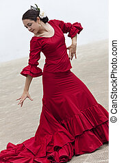 kobieta, tradycyjny, tancerz, hiszpański, flamenco, strój, czerwony
