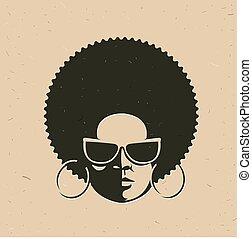 kobieta twarz, czarnoskóry, przód, portret, prospekt