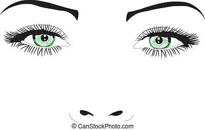 kobieta twarz, oczy, wektor, ilustracja