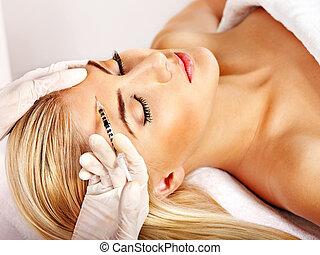 kobieta, udzielanie, botox, injections.