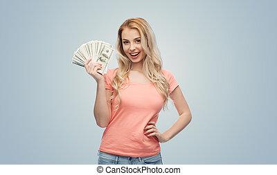 kobieta,  usa, Pieniądze, dolar, młody, gotówka, szczęśliwy