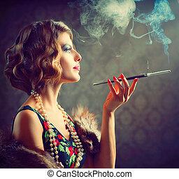 kobieta, ustnik, portrait., retro, palenie, dama