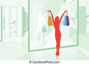 kobieta, utrzymywać, shopping torby, witryna, wektor, ilustracja