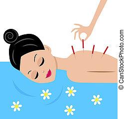 kobieta, uznawać, postępowanie, akupunktura