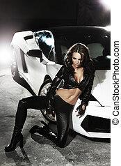 kobieta, wóz, następny, przedstawianie, sexy, sport