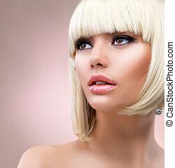 kobieta, włosiany fason, portrait., blond, blondynka