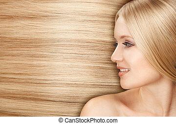 kobieta, włosy, hair., blond, długi, prosty, piękny