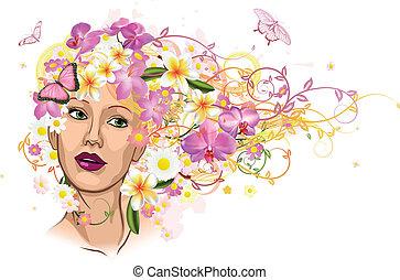 kobieta, włosy, kwiaty, robiony, piękny
