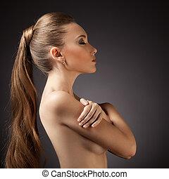 kobieta, włosy, portrait., brązowy, długi, piękny
