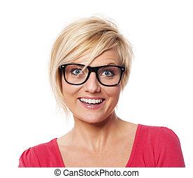 kobieta, włosy, szczęśliwy, portret, blond, krótki