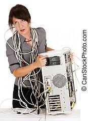 kobieta, wściekły, z, komputer