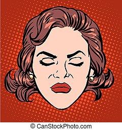 kobieta, wściekać się, twarz, retro, gniew, emoji