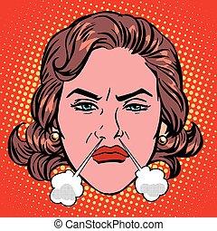 kobieta, wściekać się, twarz, wrzący, retro, gniew, emoji