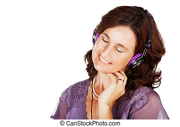 kobieta, w, 30ą, z, earphones