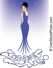 kobieta, w, błękitny